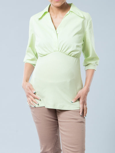 Green Nursing-Friendly Maternity Shirt