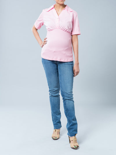 Pink Woven Shirt with Stretchy Ribbed Knit at Pregnant Belly