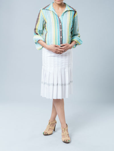 Maternity Pleated Skirt with Embroidery Paired with Button-Up Nursing Friendly Shirt