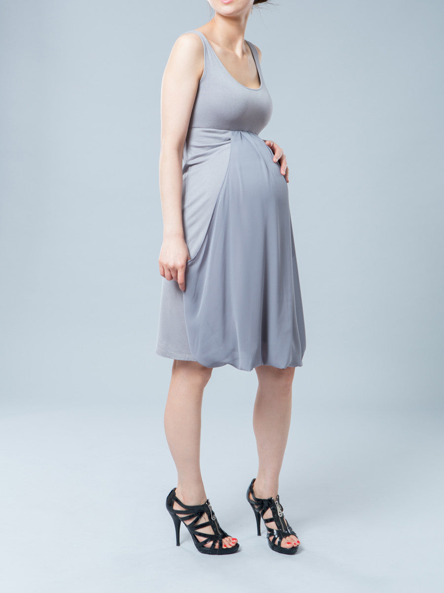 Jules and Jim Sleeveless Maternity Dress with a Chiffon Drape