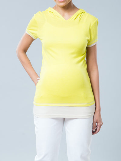 Bright Yellow Maternity Layered Sportive Tee with Hood