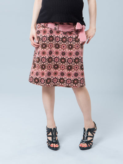 Maternity Floral Corduroy Skirt with Belt - Front View