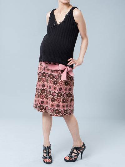 Maternity Floral Corduroy Skirt stretches with Growing Pregnant Belly