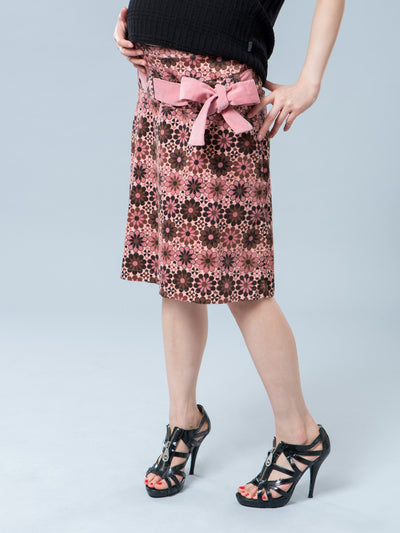 Maternity Floral Corduroy Skirt with Belt - Front Side View