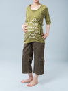 Noppies Maternity Scoop Neck Graphic Tee with Belt Paired with Maternity Corduroy Cargo Crop Pants