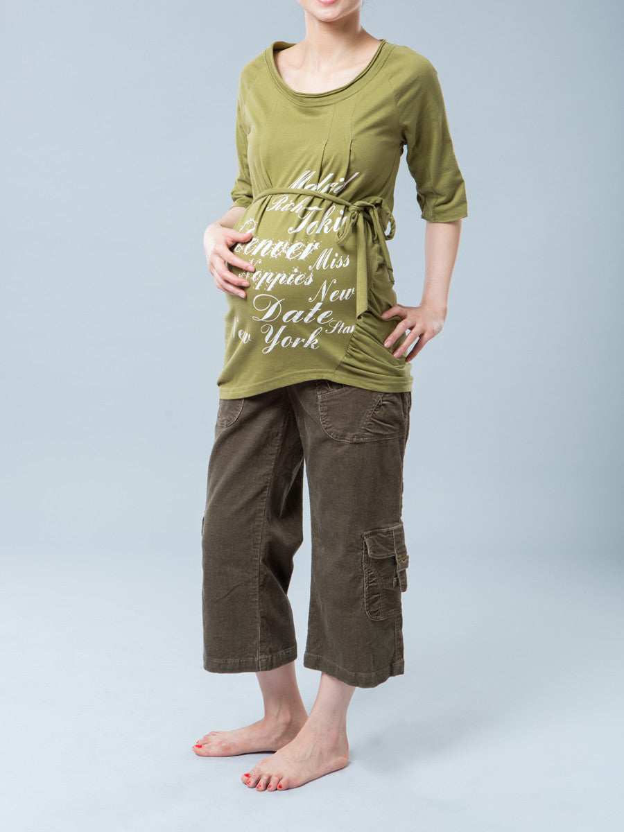 2ce777df075b9 Noppies Maternity Scoop Neck Graphic Tee with Belt Paired with Maternity  Corduroy Cargo Crop Pants