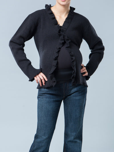 Angora Blend Maternity Long Sleeve Ruffle Cardigan