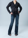 Maternity Long Sleeve Ruffle Cardigan Paired with Maternity Bootcut Jeans