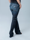 Five-Pocket Slim Bootcut Maternity Jeans with Back Flap Pockets