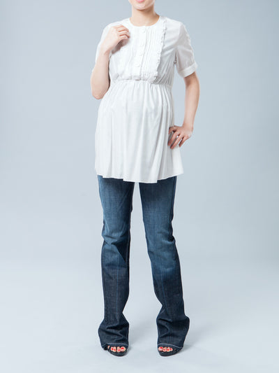 Maternity Bootcut Jeans with Contoured Pregnant Belly Panel