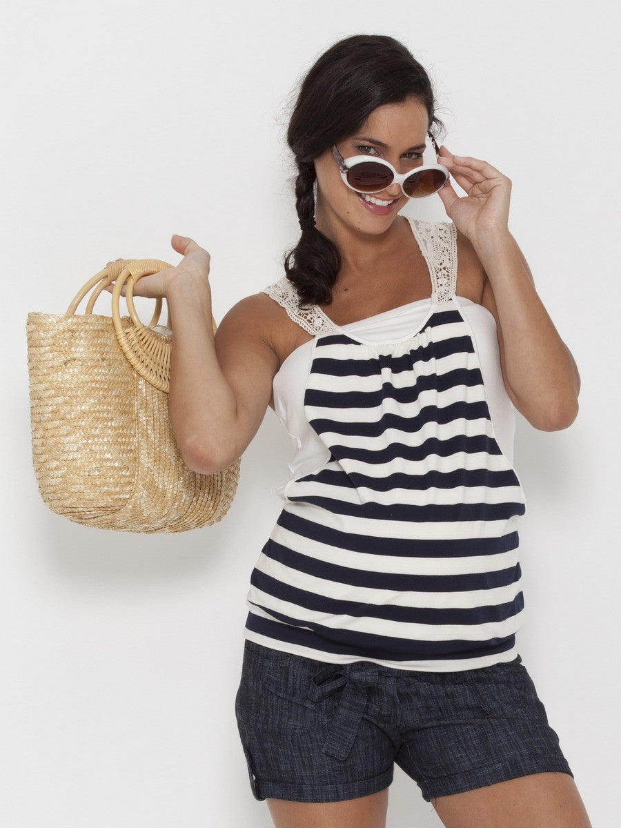 Crochet Neck Nautical Stripe Maternity Tank for Pregnant Belly