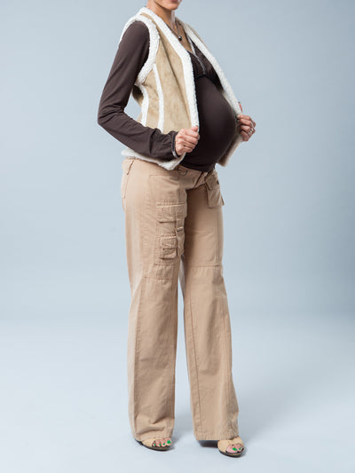 Maternity Nursing-Friendly Suede Vest with Soft Faux Fur Trims