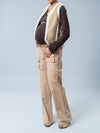 Jules and Jim Maternity Suede Vest with Faux Fur Lining Paired with Maternity Long Cargo Pants