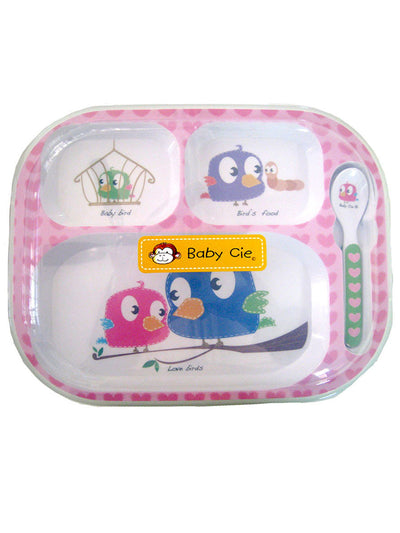 Baby 3-Section Meal Tray with Spoon and Plastic Lid