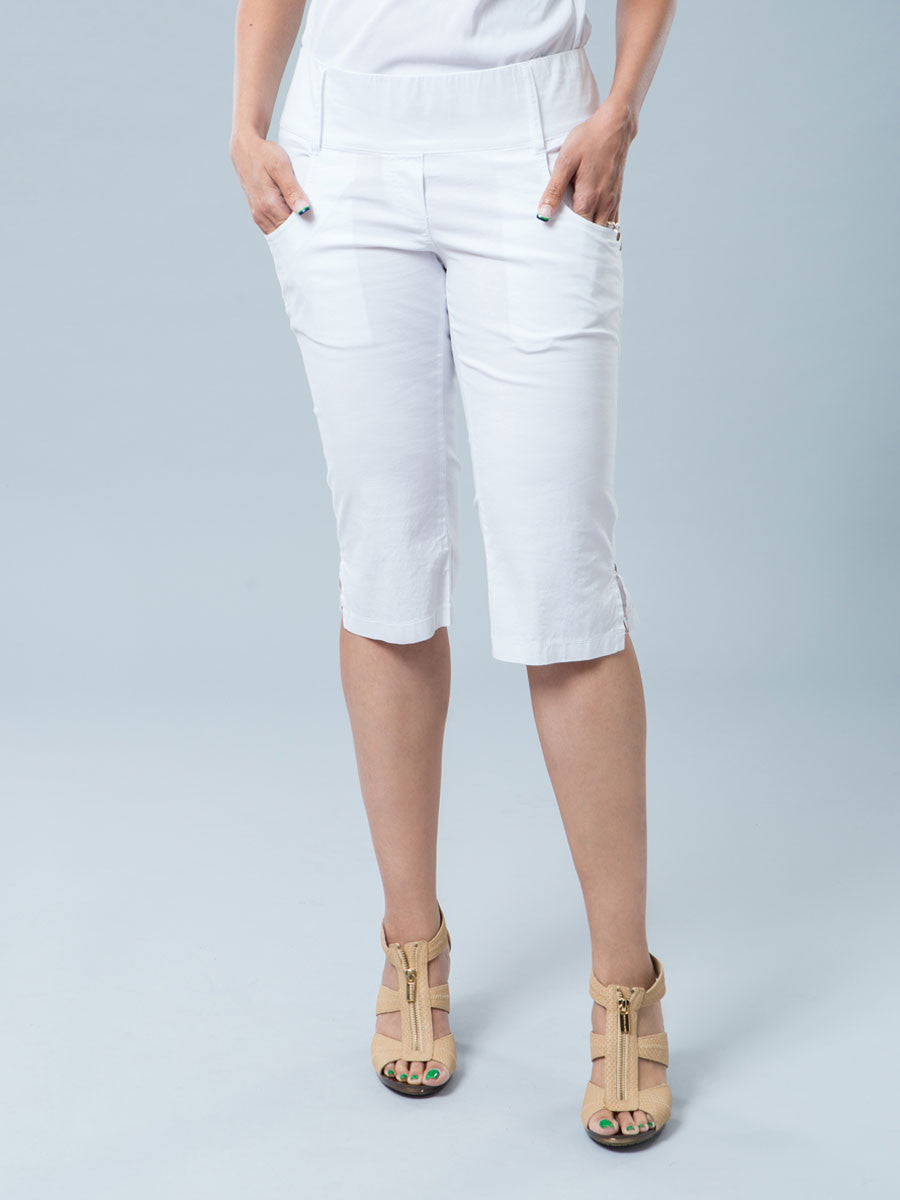 Maternity Slim Leg Bermuda White Shorts