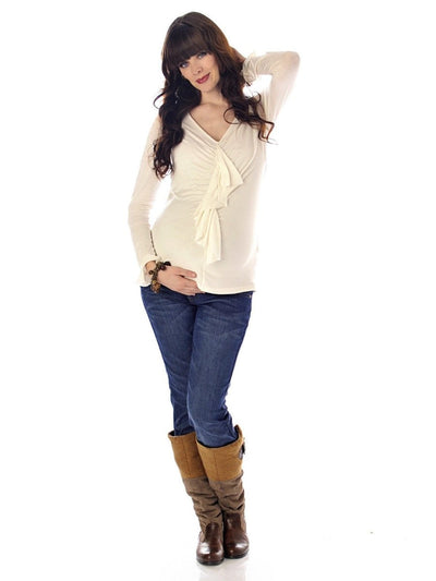 Long Sleeve Maternity Top Paired with Skinny Maternity Jeans