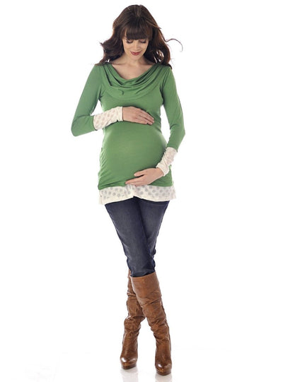 Stretchy Green Cowl Neck Maternity Top