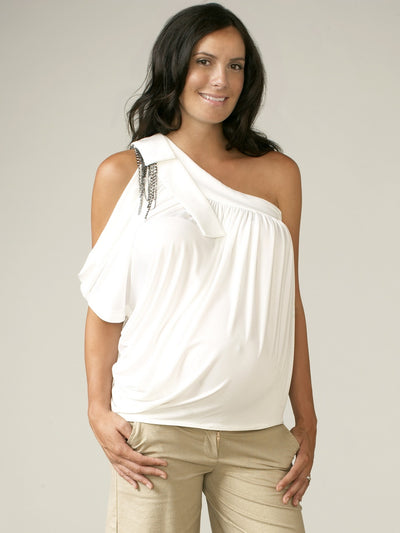 Maternal America Single Shoulder Peep Hole Maternity Top