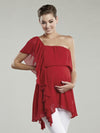 Maternal America Single Ruffled Shoulder Chiffon Maternity Tunic