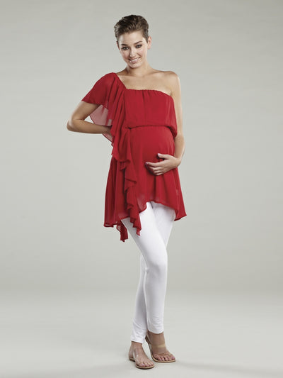 Flowly Chiffon Maternity Tunic with Single Shoulder