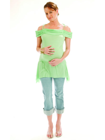 Off-the-Shoulder Pleated Maternity Top with Adjustable Shoulder Ties