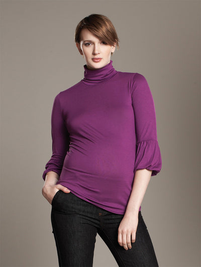 Maternal America Maternity Turtleneck with Cropped Lantern Sleeves