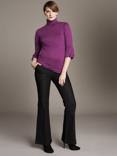 Soft Turtleneck Maternity Top with Elbow Length Lantern Sleeves