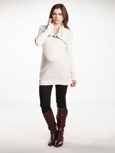 Maternity Tunic with Shawl Collar Paired with Maternity Leggings