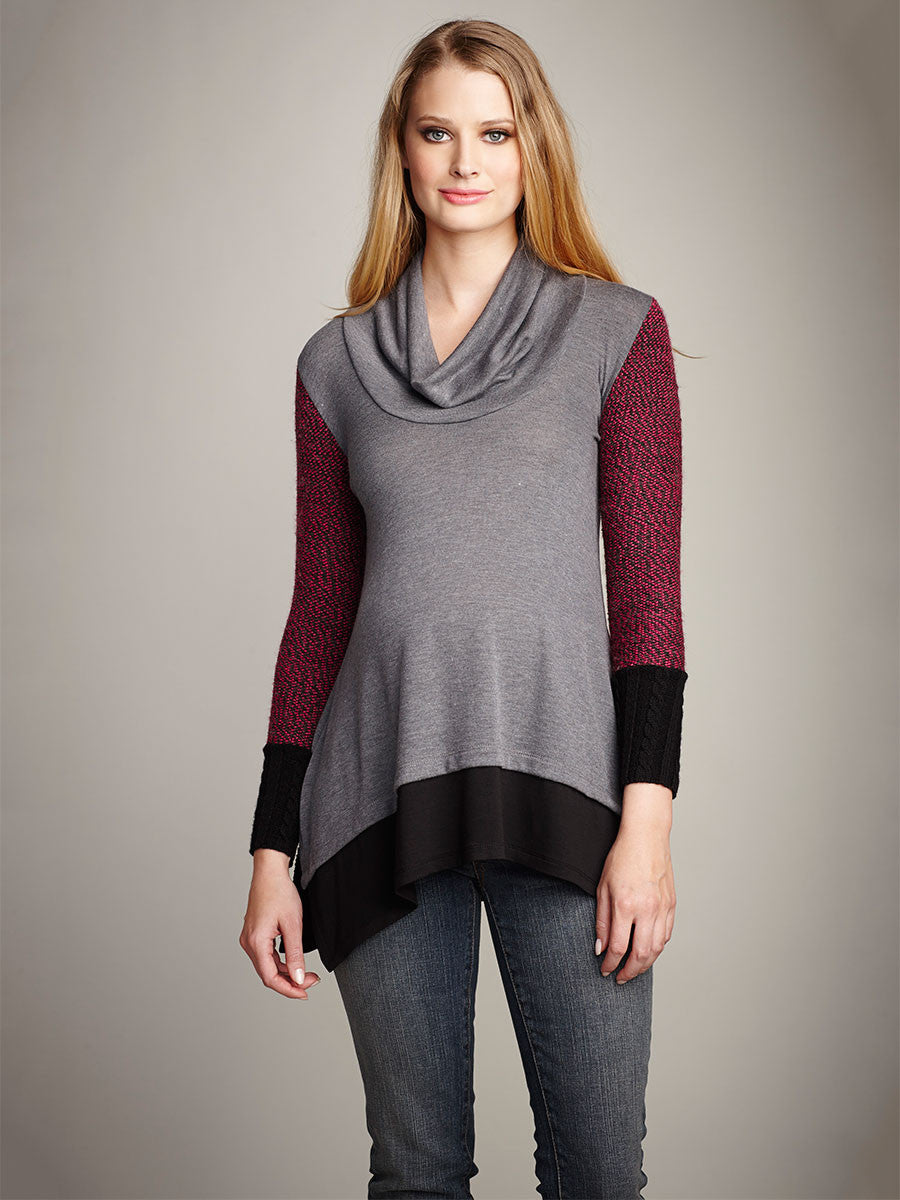 Maternal America A-line Styled Cowl Neck Maternity Top with Sweater Sleeves