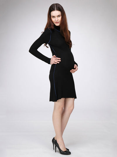 Stretchy Turtleneck Maternity Dress for Pregnant Belly