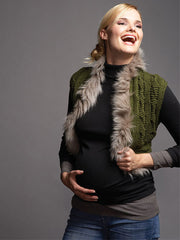 Maternity Cable Knit Vest with Faux Fur