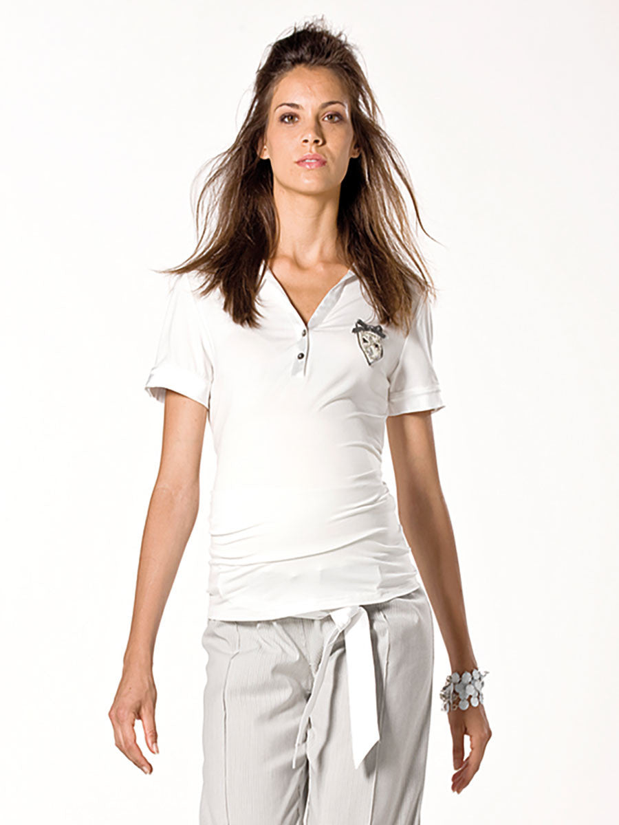 Menonove Maternity Polo Shirt with Emblem and Satin Trimmings