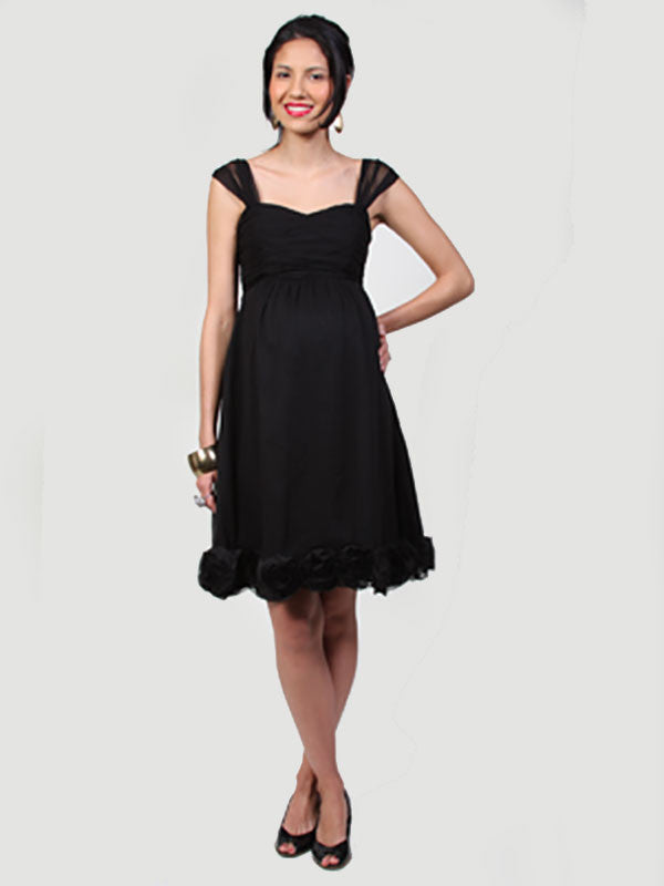Maternity Chiffon Cocktail Dress with Chiffon Rose Detailed Hem