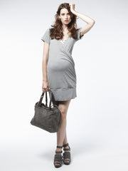 Banded Hem Crossover Front Maternity Dress