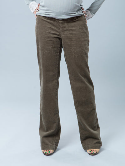 Corduroy Maternity Pants with Inside Elastic Accommodates Pregnant Belly