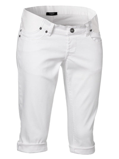 Low Waist White Capri Jeans for Pregnant Belly