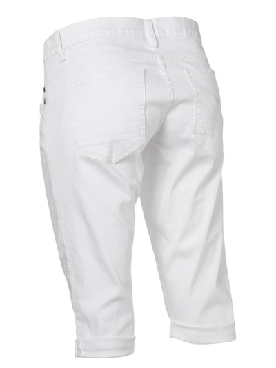 Underbelly 4-Pocket White Maternity Crop Jeans
