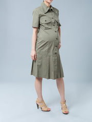 Maternity Cotton Button-Up Shirt Dress with Pockets