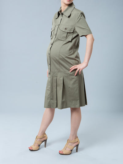 Noppies Maternity Cotton Button-Up Maternity Shirt Dress with Pockets - Side View