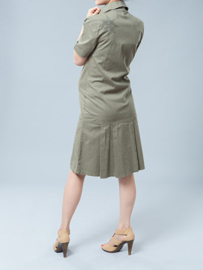 Noppies Maternity Cotton Button-Up Maternity Shirt Dress with Pockets - Back Side View