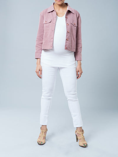 Noppies Maternity Non-Wrinkly Linen Blend Maternity Cropped Jacket Paired with Ankle Length Skinny White Jeans