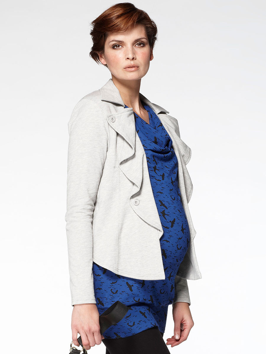 Noppies Maternity Knit Jacket with a Wavy Lapel - Side Profile
