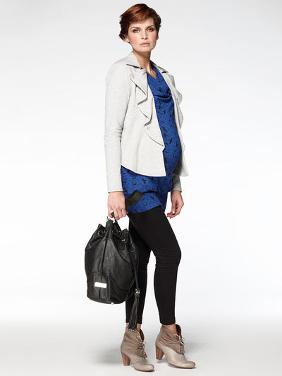 Noppies Maternity Knit Jacket with a Wavy Lapel Paired with Maternity Tunic and Leggings - Side Profile
