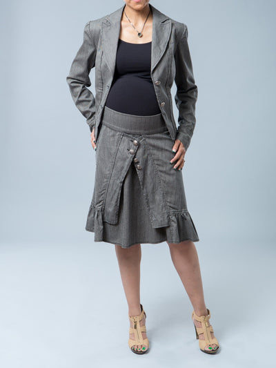 Noppies Maternity Herringbone Print Blazer Paired with Matching Skirt - Front View