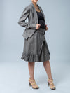 Noppies Maternity Herringbone Print Blazer Paired with Matching Skirt - Side Profile