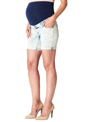 Bleached Cuffed Maternity Denim Shorts