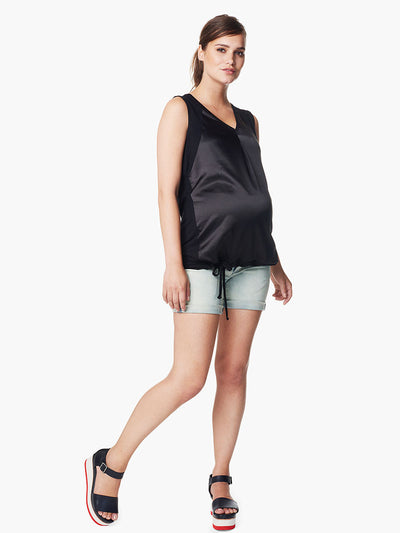 Denim Shorts with Belly Panel Accommodates Pregnancy Belly