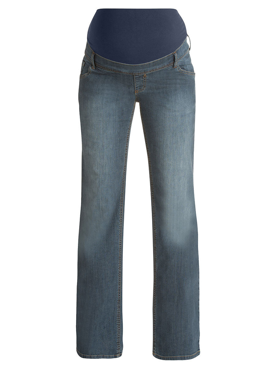 Bootcut Maternity Jeans with Belly Panel and Relaxed Thighs
