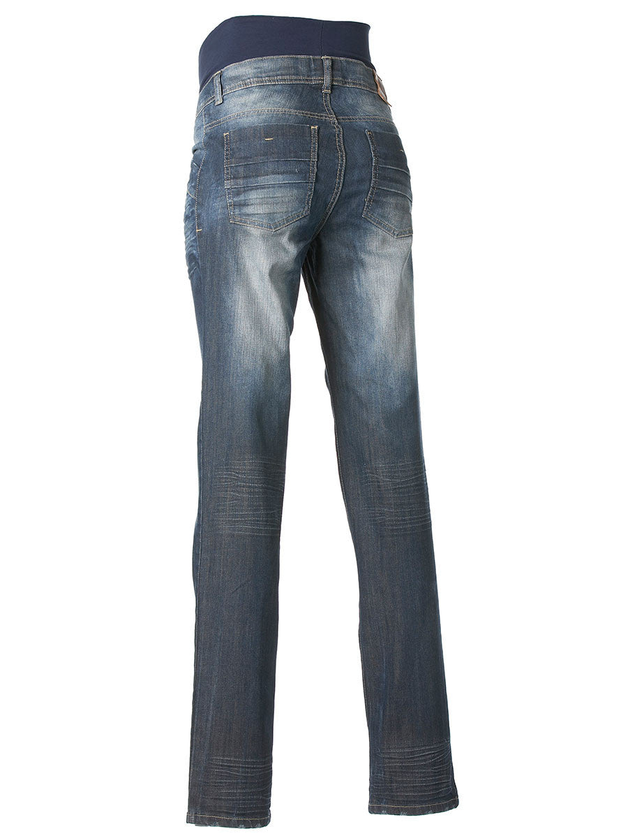 d1df2adb70ec9 Slim Straight Leg Maternity Jeans with Belly Panel & Whisker/Fade ...