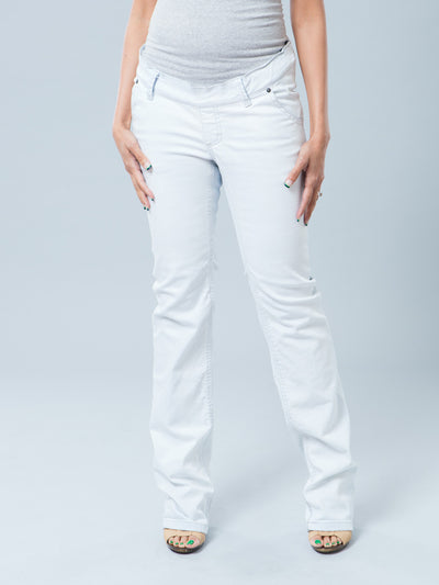 Very Light Blue Slim Straight Leg Maternity Jeans